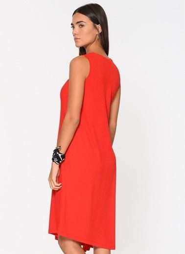 Loves You Kolsuz Asimetrik Elbise Kırmızı